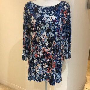 Purple/Blue Floral Rafaella Blouse Size 2X